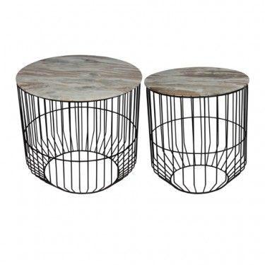Set 2 mesas en hierro y efecto mármol.