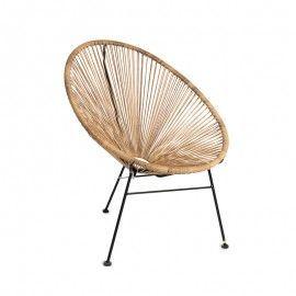 Silla oval en acero y efecto bambú.