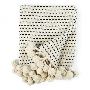 Plaid algodón blanco y negro.