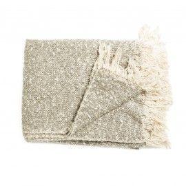 Plaid jaspeado en gris y blanco.