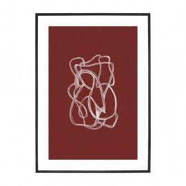Ilustración abstracta blanco/borgoña