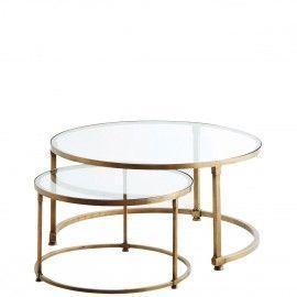 Set 2 mesas en cristal y latón. ø49x30/ø70x35 cm.