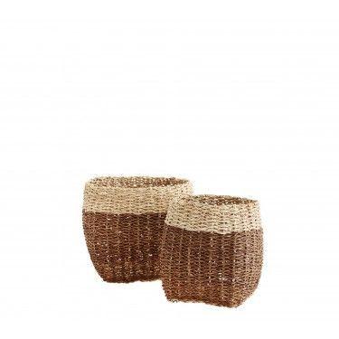 Cesto bicolor de bambú. Varios tamaños.