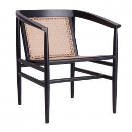 SILLA COLOR NEGRO/NATURAL FABRICADO EN RATTAN 67 X 67 X 78 CM
