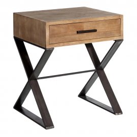 Mesita en madera y pie de metal. 50x41.50x59.50 cm.