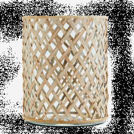 Maceta de cristal y bambú.