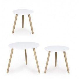 Set 3 mesas blancas.