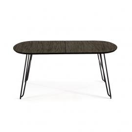 NORFORT Mesa extensible140(220)x 90 cm metal negro madera ne
