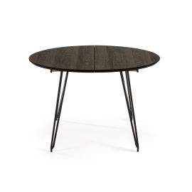 NORFORT Mesa redonda extensible120(200)x120 cm negra