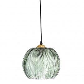 Lámpara de techo cristal verde.