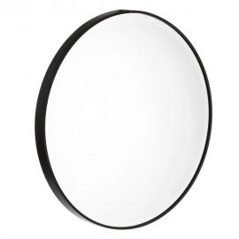 Espejo redondo con marco negro. ø80 cm.