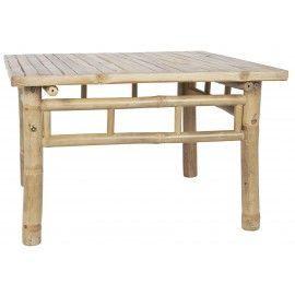 Mesa auxiliar bambú. 70x70x45 cm.
