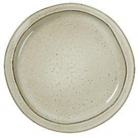 Plato llano de cerámica rústica en tono piedra.