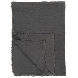 Plaid lino gris marengo rústico.