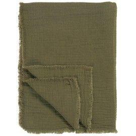 Plaid lino verde oliva rústico.