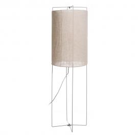 Lámpara de pie de metal y tela en color gris.