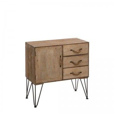 mueble recibidor madera natural con tiradores de cuerda