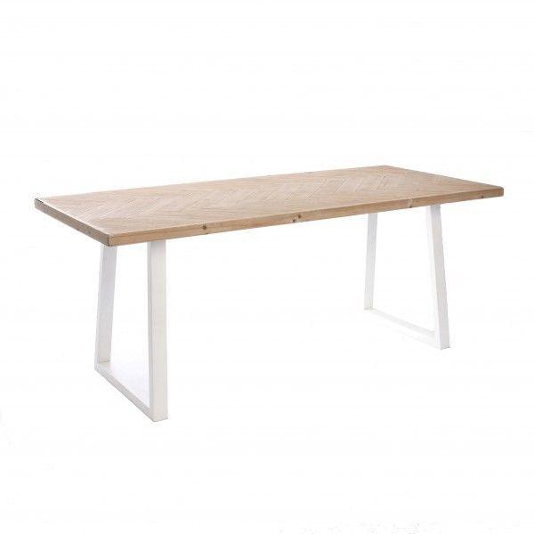 Mesa de comedor con sobre de madera en zigzag patas for Sillas comedor patas metalicas