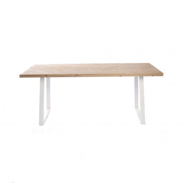 Mesa de comedor con sobre de madera en zigzag patas for Mesas de comedor blancas