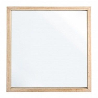 espejo cuadrado con marco de madera de roble natural