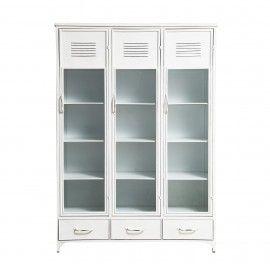Vitrina de hierro blanco. 125x49x180 cm
