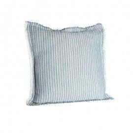 Cojín de lino a rayas azul 45x45.