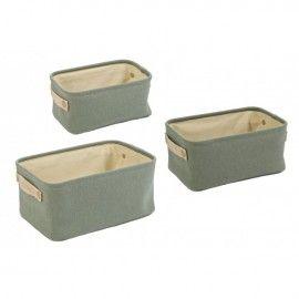 Set cestas verde soft con asas.