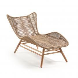 KUBIC Chaise longue eucalipto natural cuerda beige