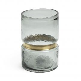 JAMBALA Jarrón 23,5 cm cristal gris