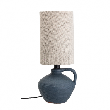 Lámpara de mesa con base gris.