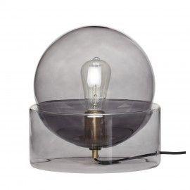 Lámpara de mesa de cristal gris humo.