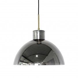 Lámpara de cristal y latón electrochapado.