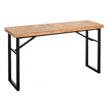 Consola de hierro y madera. 132x35x71 cm.