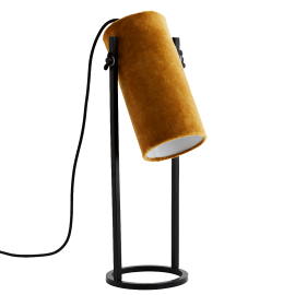 Lámpara de terciopelo mostaza.