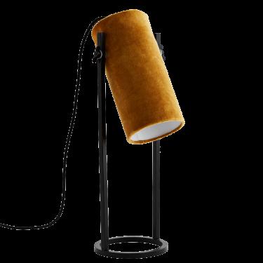 Lámpara de pana ocre.