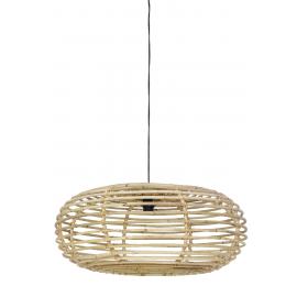 Lámpara de techo de ratán natural.