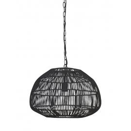 Lámpara de techo de fibras naturales en negro.
