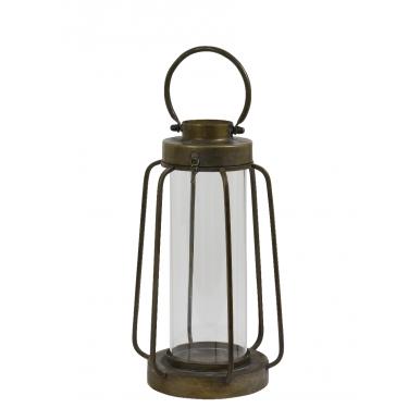 Linterna en bronze y cristal.