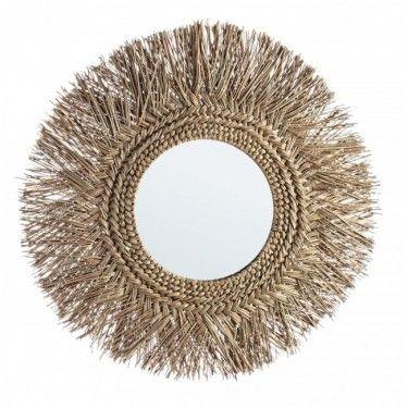 Espejo redondo de bambú.