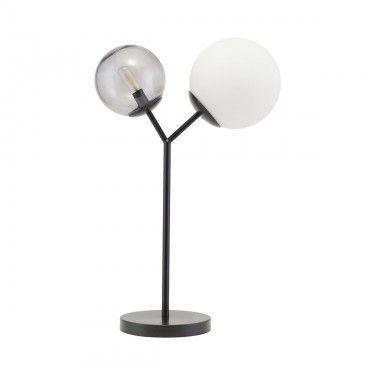 Lámpara de mesa negra y cristal.