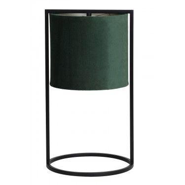 Lámpara de mesa terciopelo verde.