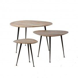 Set 3 mesas en madera y hierro.