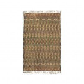 Alfombra natural tonos beige/marrón/verde. 120 x 180 cm.