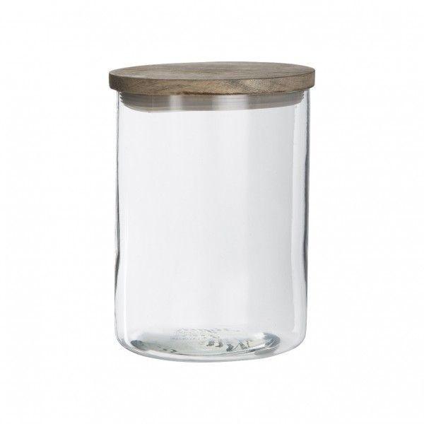 Bote de cristal con tapa de madera de mango cierre herm tico - Bote cristal con tapa ...