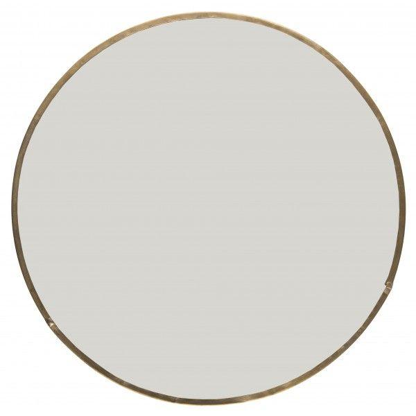 espejo redondo con marco de metal dorado