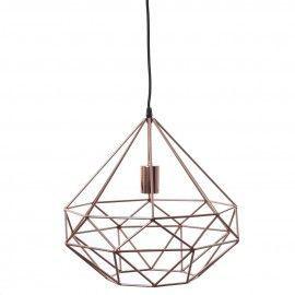 Lámpara metálica cobre forma poligonal.