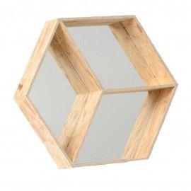 Espejo estantería hexagonal de madera.