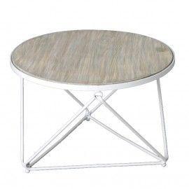 Mesa de centro redonda con sobre de madera y estructura metal.