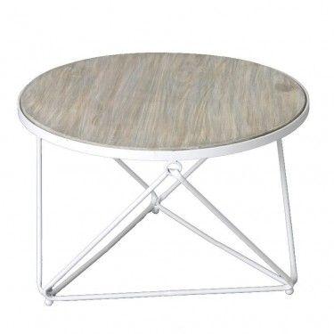 Mesa centro redonda sobre madera y estructura metálica color blanco.