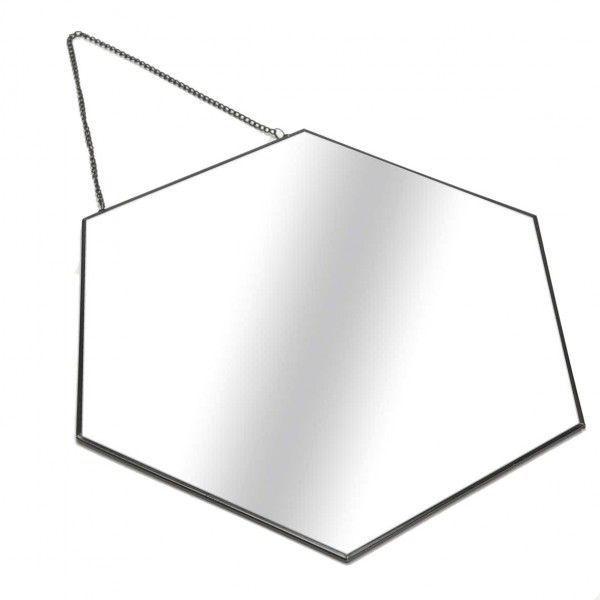 Espejo hexagonal con marco met lico negro y cadena para colgar for Espejo hexagonal ikea